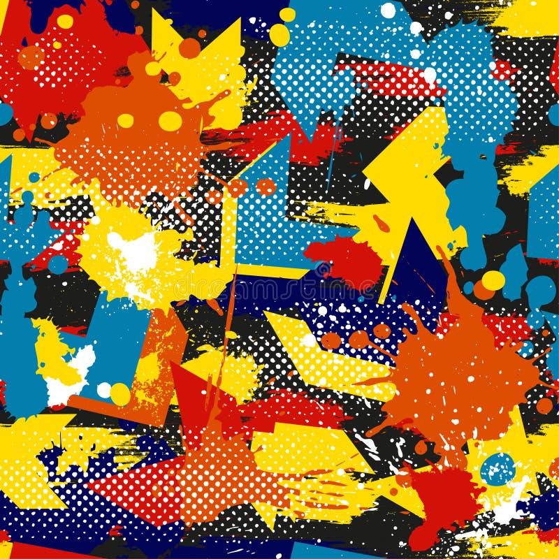 Αφηρημένο άνευ ραφής γεωμετρικό σχέδιο με τις γεωμετρικές μορφές, σημεία, ζωηρόχρωμο μελάνι χρωμάτων ψεκασμού Αστικό σχέδιο Grung διανυσματική απεικόνιση