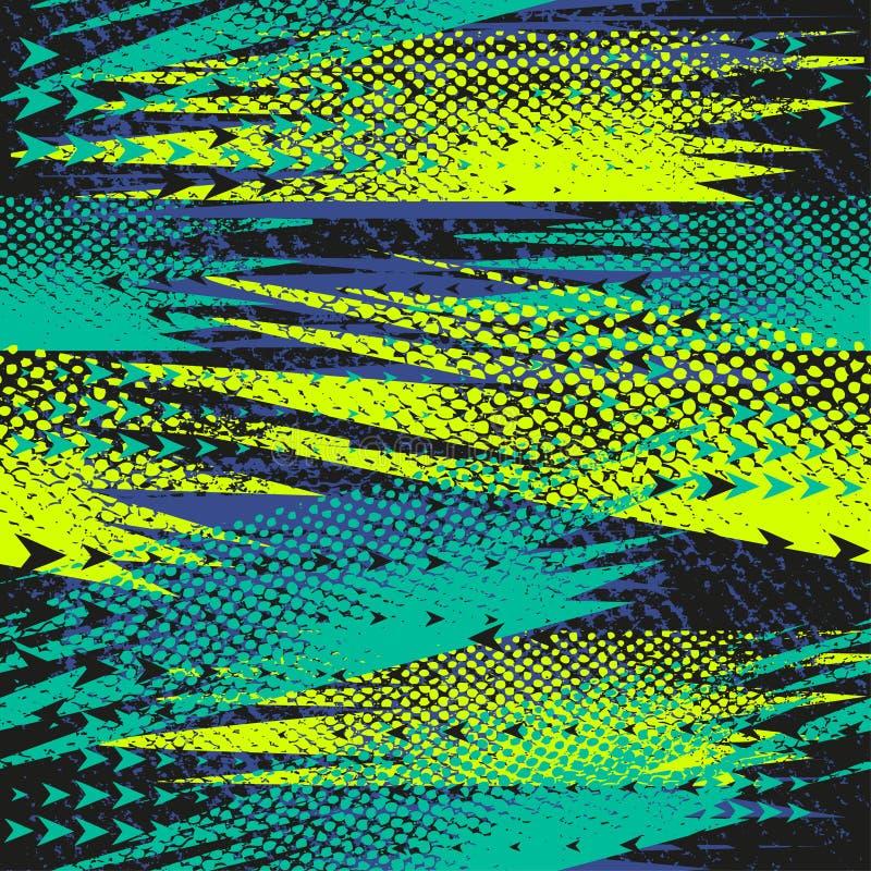 Αφηρημένο άνευ ραφής γεωμετρικό σχέδιο με τις γεωμετρικές μορφές, σημεία, ζωηρόχρωμο μελάνι χρωμάτων ψεκασμού Αστικό σχέδιο Grung ελεύθερη απεικόνιση δικαιώματος