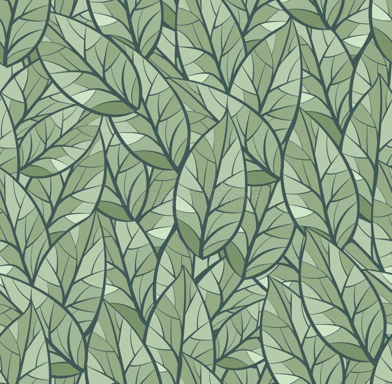 Αφηρημένο άνευ ραφής διανυσματικό υπόβαθρο σχεδίων Φύλλα Ελαφριά και σκούρο πράσινο παλέτα χρώματος   ελεύθερη απεικόνιση δικαιώματος
