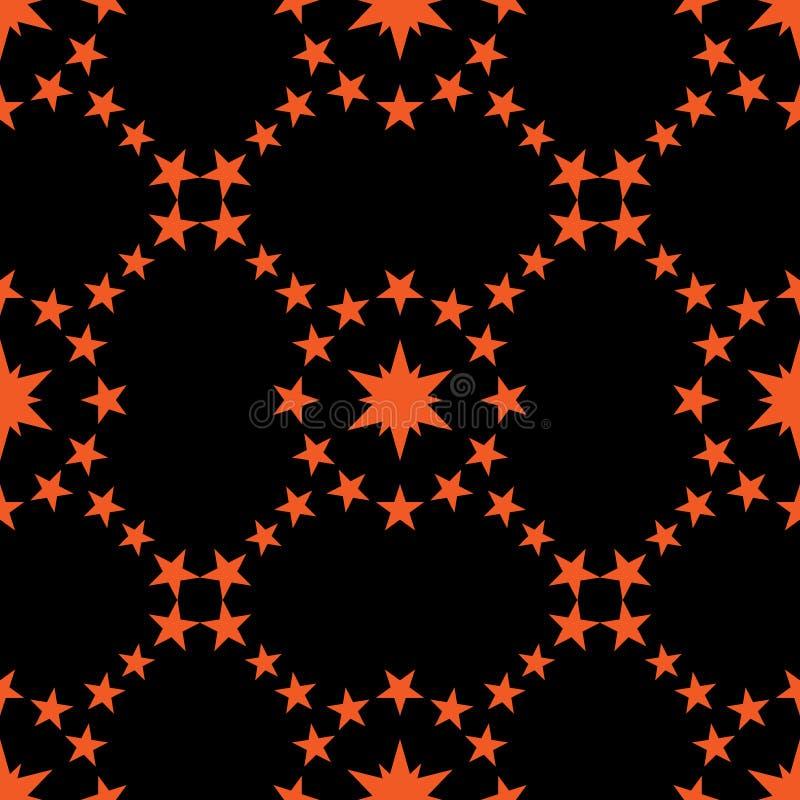 Αφηρημένο άνευ ραφής σχέδιο αντίθεσης Πορτοκαλιά αστέρια, μαύρο υπόβαθρο διανυσματική απεικόνιση
