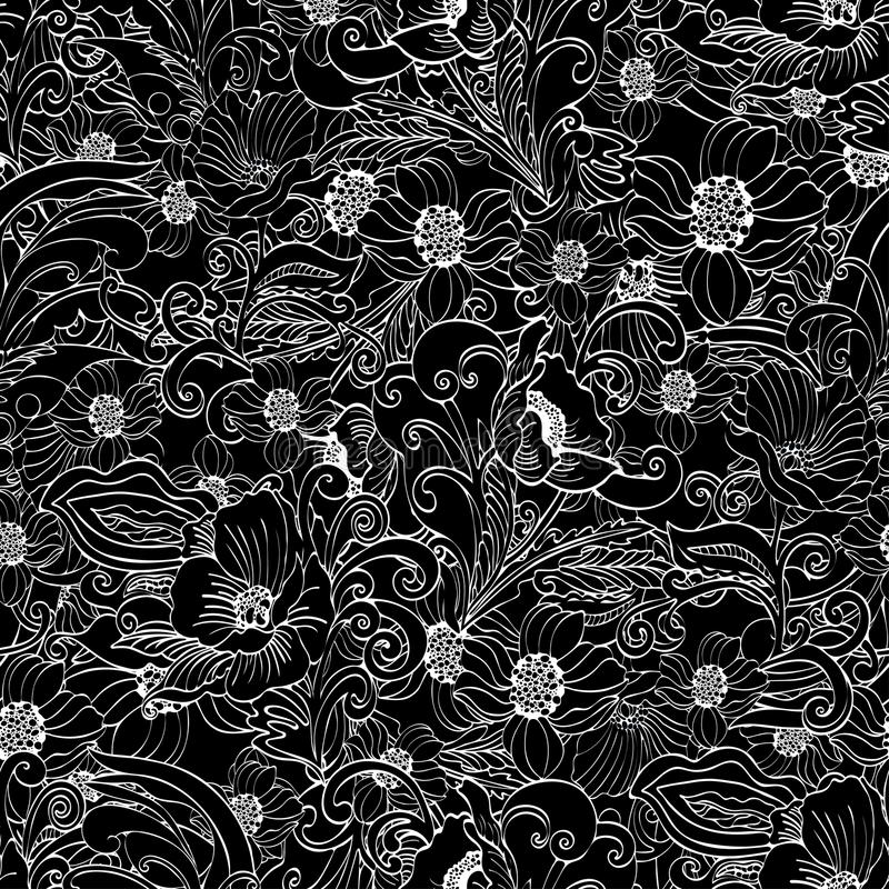 Αφηρημένο άνευ ραφής σχέδιο λουλουδιών, διανυσματικό floral γραπτό υπόβαθρο περιγράμματος απεικόνιση αποθεμάτων