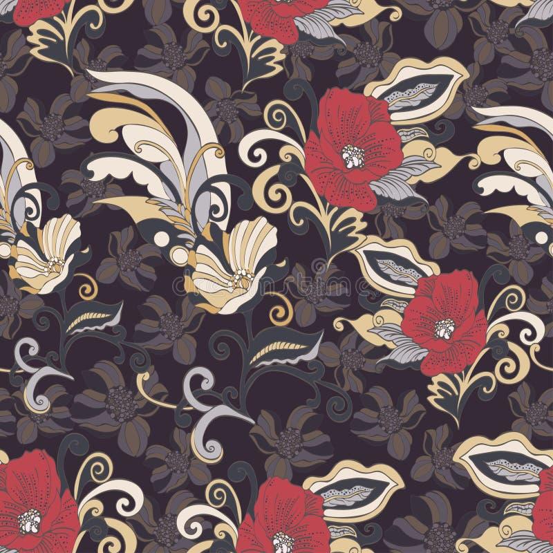 Αφηρημένο άνευ ραφής σχέδιο λουλουδιών, διανυσματικό floral υπόβαθρο ελεύθερη απεικόνιση δικαιώματος
