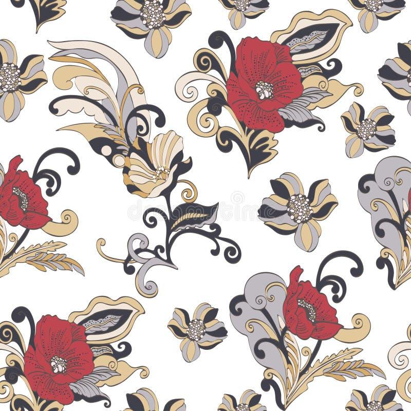 Αφηρημένο άνευ ραφής σχέδιο λουλουδιών, διανυσματικό floral υπόβαθρο διανυσματική απεικόνιση