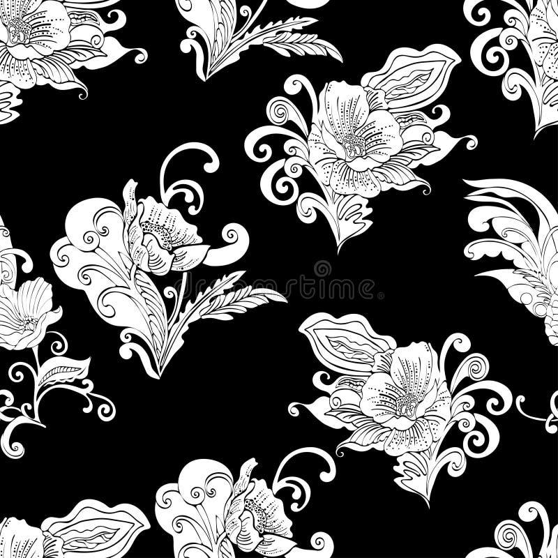 Αφηρημένο άνευ ραφής σχέδιο λουλουδιών, διανυσματικό floral υπόβαθρο περιγράμματος περιλήψεων διανυσματική απεικόνιση