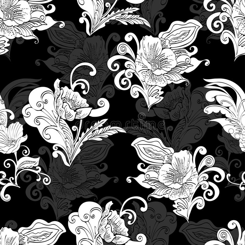 Αφηρημένο άνευ ραφής σχέδιο λουλουδιών, διανυσματικό floral υπόβαθρο περιγράμματος περιλήψεων ελεύθερη απεικόνιση δικαιώματος