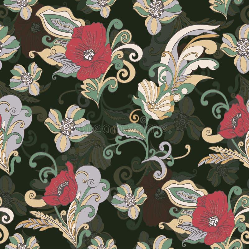 Αφηρημένο άνευ ραφής σχέδιο λουλουδιών, διανυσματικό floral υπόβαθρο, κινούμενα σχέδια hand-drawn απεικόνιση αποθεμάτων