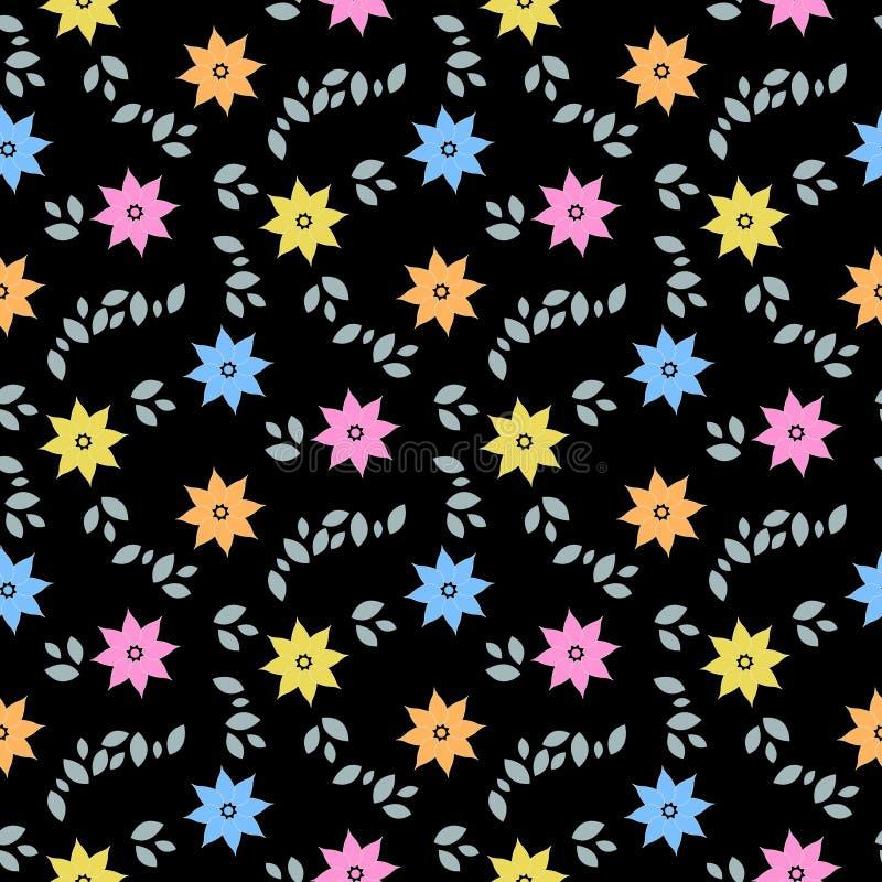 Αφηρημένο άνευ ραφής σχέδιο με τα ζωηρόχρωμα λουλούδια και τα φύλλα στο μαύρο υπόβαθρο o διανυσματική απεικόνιση