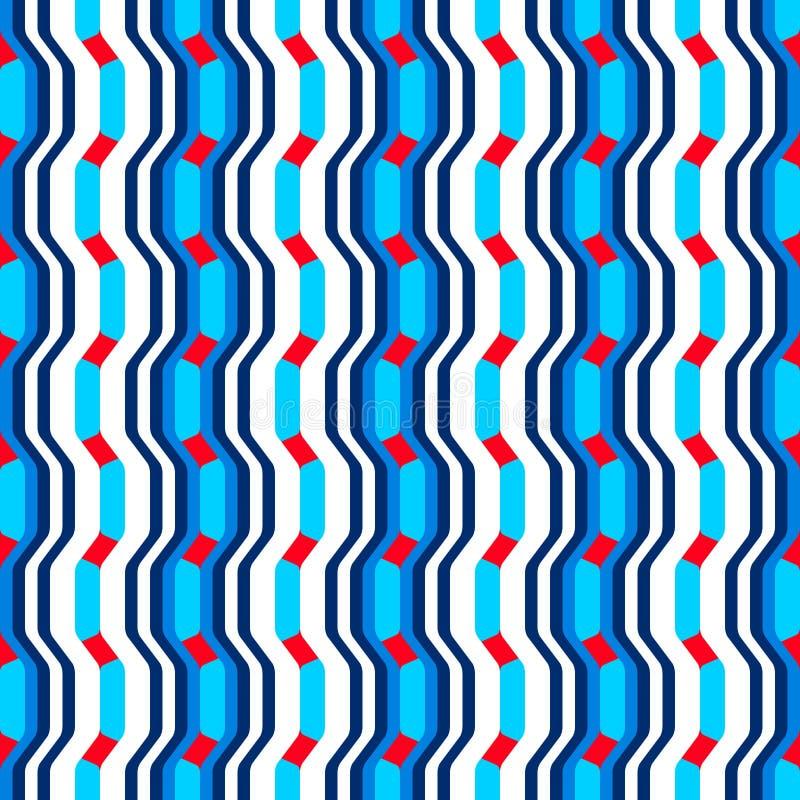 Αφηρημένο άνευ ραφής σχέδιο με τα κύματα και τις καμπύλες των γεωμετρικών μορφών απεικόνιση αποθεμάτων