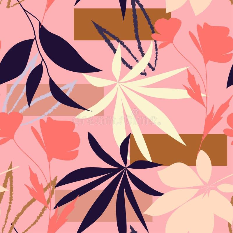 Αφηρημένο άνευ ραφής σχέδιο με τα λουλούδια και τα φύλλα στο ρόδινο υπόβαθρο o E απεικόνιση αποθεμάτων