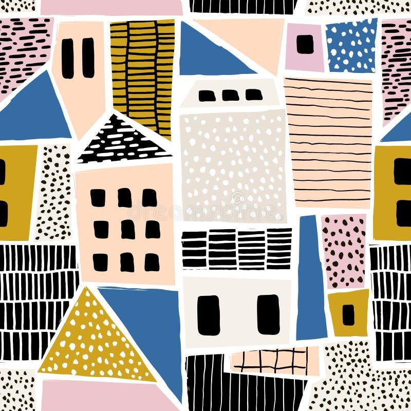 Αφηρημένο άνευ ραφής σχέδιο με τα σπίτια με συρμένες τις χέρι συστάσεις και τις μορφές Τελειοποιήστε για το ύφασμα κλωστοϋφαντουρ ελεύθερη απεικόνιση δικαιώματος
