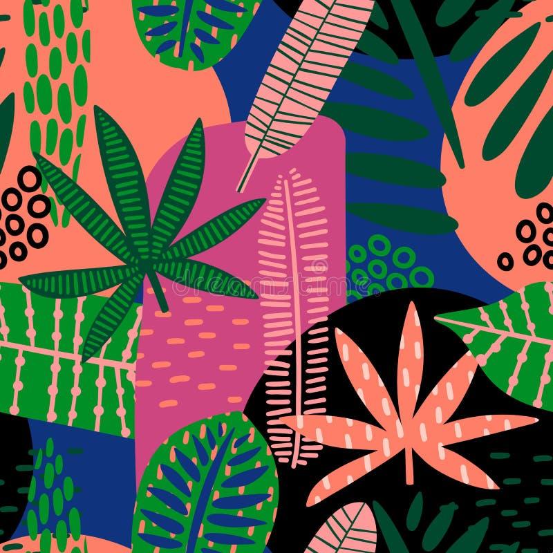 Αφηρημένο άνευ ραφής σχέδιο με τα τροπικά φύλλα ελεύθερη απεικόνιση δικαιώματος