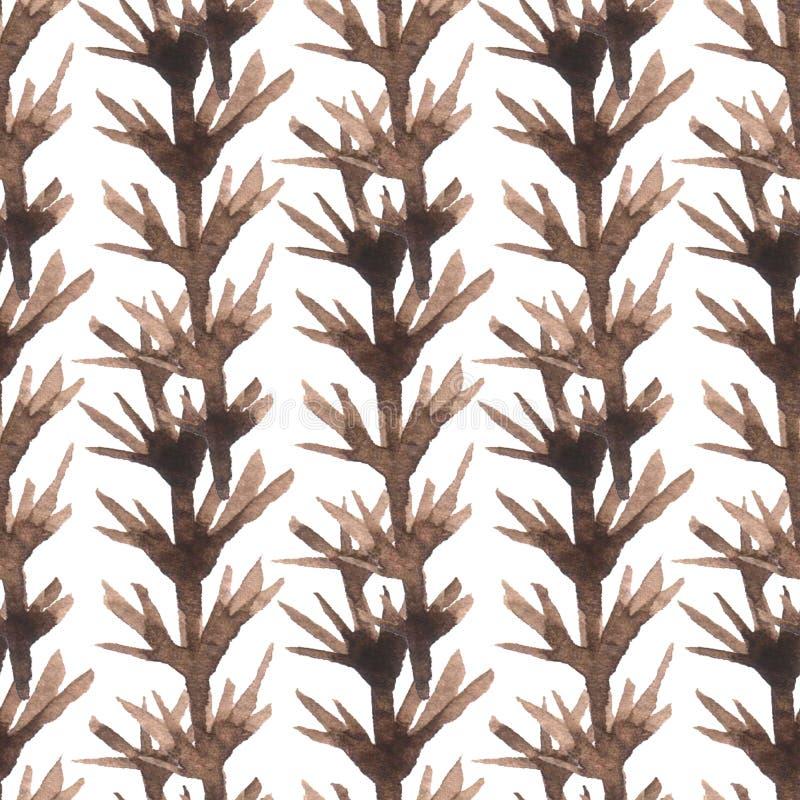 Αφηρημένο άνευ ραφής σχέδιο με τους καφετιούς κλάδους ανασκόπηση διακοσμητική Ζωηρόχρωμη σύσταση για το σχέδιο του κλωστοϋφαντουρ στοκ εικόνα