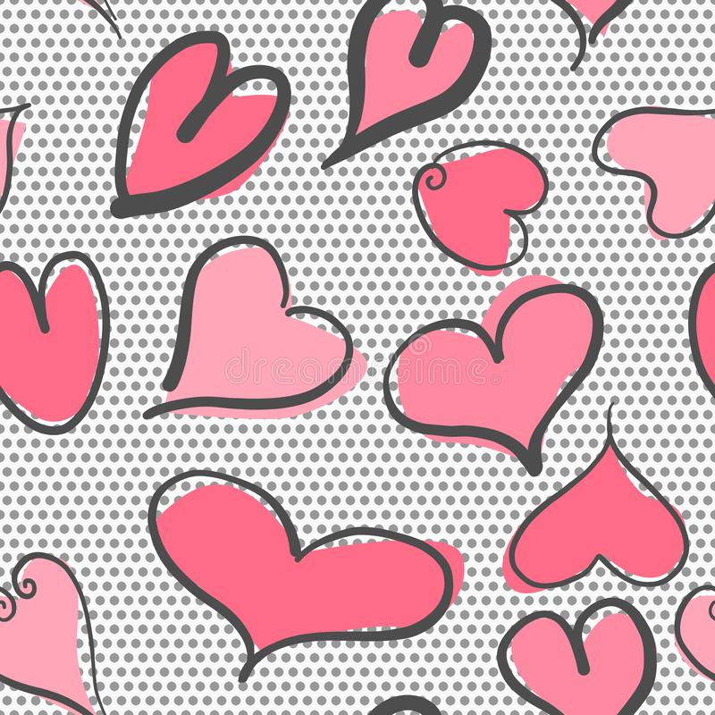 Αφηρημένο άνευ ραφής σχέδιο με το υπόβαθρο καρδιών και σημείων Πόλκα Οι καρδιές βαλεντίνων με το χέρι σύρουν ελεύθερη απεικόνιση δικαιώματος
