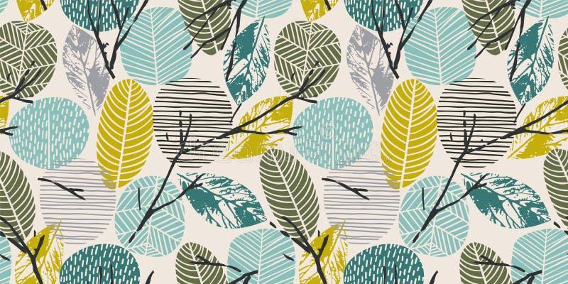 Αφηρημένο άνευ ραφής σχέδιο φθινοπώρου με τα δέντρα Διανυσματικό υπόβαθρο για τη διάφορη επιφάνεια διανυσματική απεικόνιση