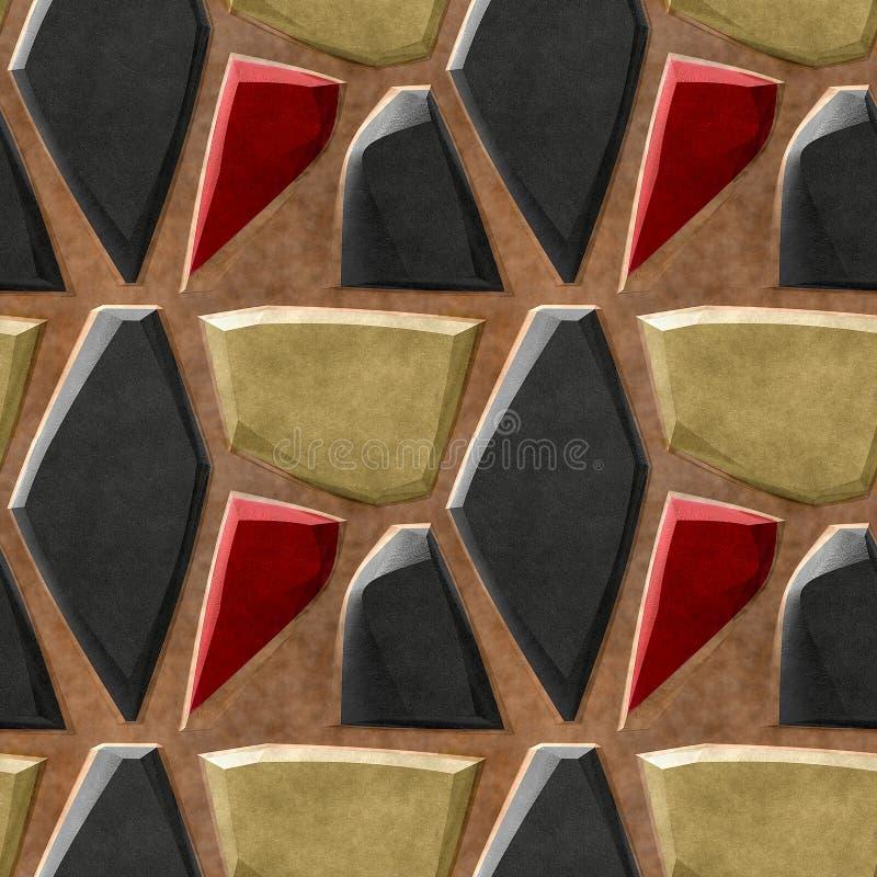 Αφηρημένο άνευ ραφής σχέδιο ανακούφισης των μαύρων, χρυσών και κόκκινων αιχμηρών πετρών ελεύθερη απεικόνιση δικαιώματος