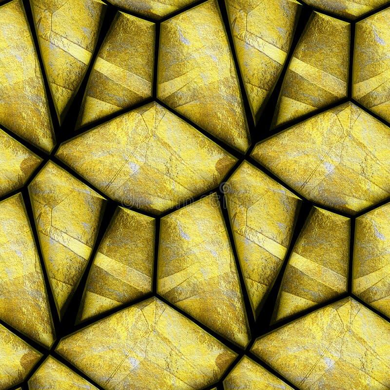 Αφηρημένο άνευ ραφής σχέδιο ανακούφισης των χρυσών ριγωτών πετρών σε ένα μαύρο υπόβαθρο ελεύθερη απεικόνιση δικαιώματος