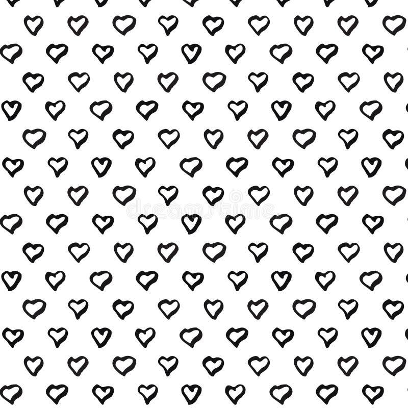 Αφηρημένο άνευ ραφής σχέδιο καρδιών Το χέρι σύρει το σχέδιο καρδιών Απεικόνιση μελανιού διανυσματική απεικόνιση