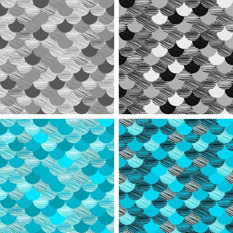 Αφηρημένο άνευ ραφής σχέδιο κυμάτων colorfull Το ύφασμα Διανυσματικό μπλε κλιμάκων μαύρο λευκό γκρίζος διανυσματική απεικόνιση