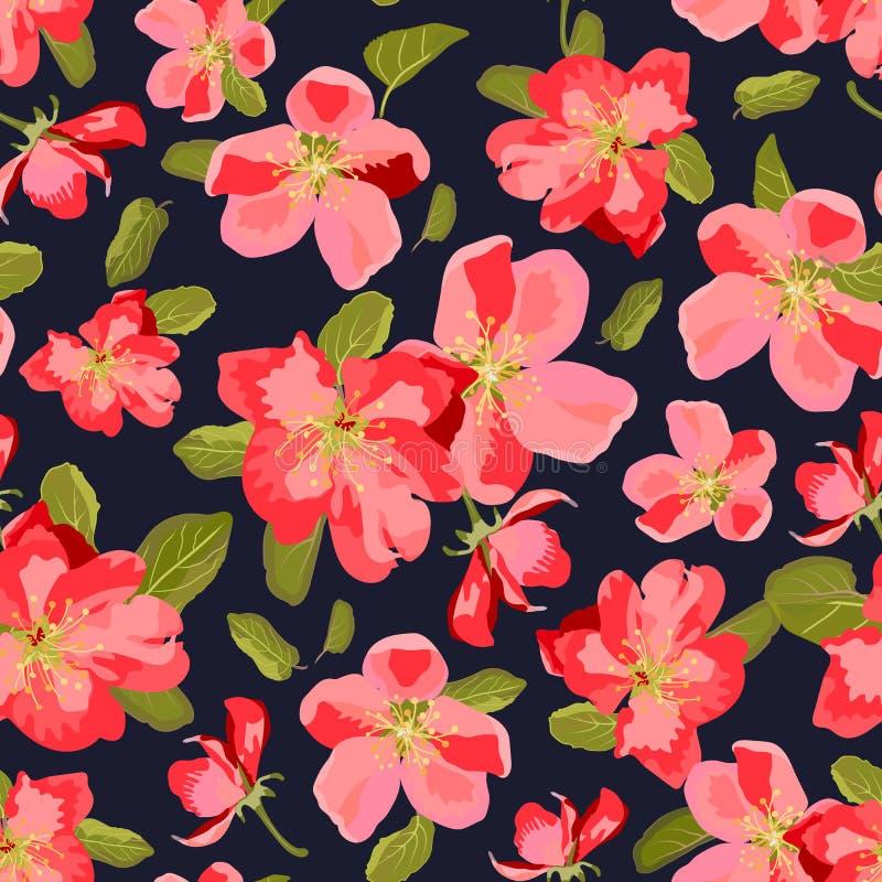 Αφηρημένο άνευ ραφής σχέδιο με συρμένα τα χέρι λουλούδια Appl διανυσματική απεικόνιση