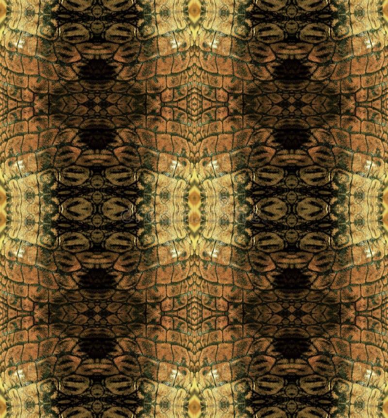 Αφηρημένο άνευ ραφής σχέδιο με τα καφετιά λωρίδες που μοιάζει με το δέρμα φιδιών διανυσματική απεικόνιση