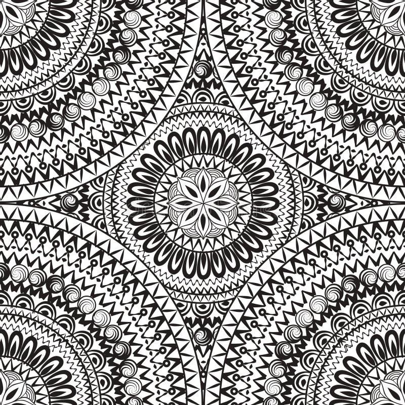 Αφηρημένο άνευ ραφής σχέδιο με την κυκλική διακόσμηση Geometri στροβίλου απεικόνιση αποθεμάτων