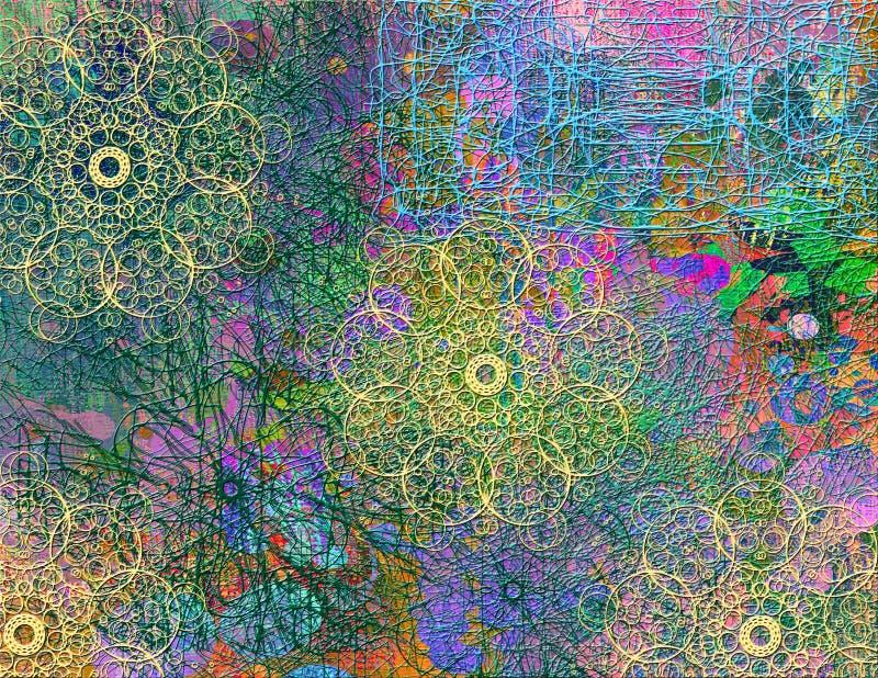 Αφηρημένο άνευ ραφής σχέδιο με τη χαοτική γραμμή και τα διαφορετικά στοιχεία χρώματος διανυσματική απεικόνιση