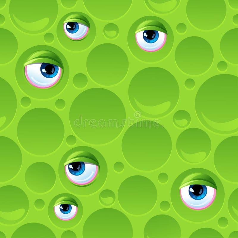 Αφηρημένο άνευ ραφής σχέδιο με τις φυσαλίδες και τα μάτια διανυσματική απεικόνιση
