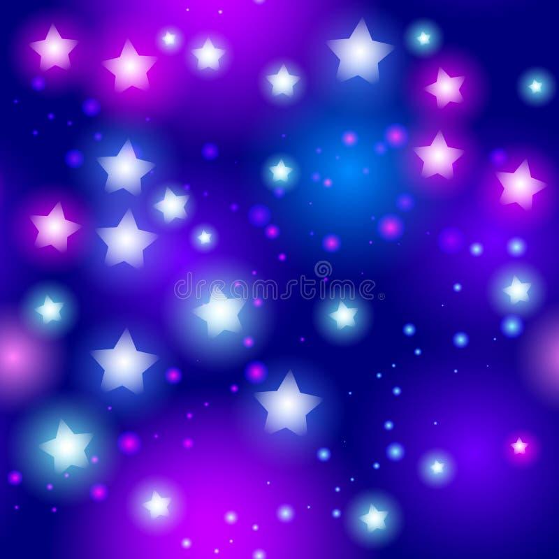 Αφηρημένο άνευ ραφής σχέδιο με το αστέρι νέου στο μαύρο υπόβαθρο διάνυσμα διανυσματική απεικόνιση