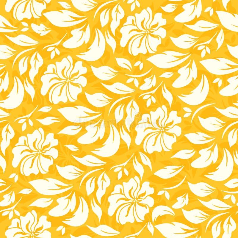 Αφηρημένο άνευ ραφής σχέδιο με το όμορφο κίτρινο floral υπόβαθρο απεικόνιση αποθεμάτων