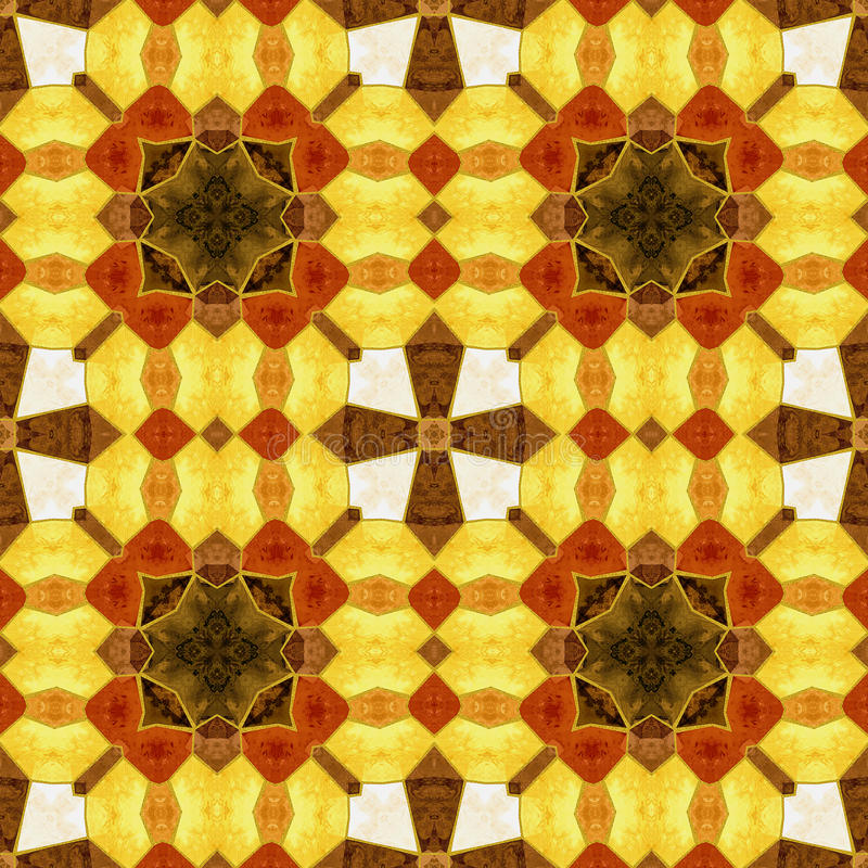 Αφηρημένο άνευ ραφής σχέδιο μωσαϊκών φθινοπώρου kaleidoscopic απεικόνιση αποθεμάτων