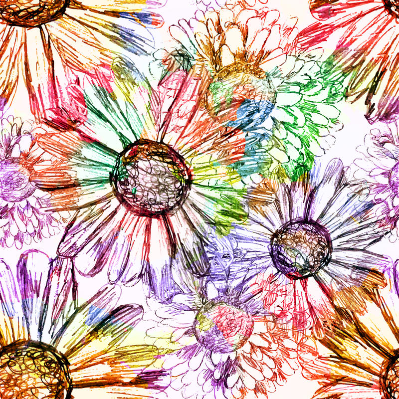 Αφηρημένο άνευ ραφής σχέδιο λουλουδιών. Διάνυσμα, EPS 10 απεικόνιση αποθεμάτων
