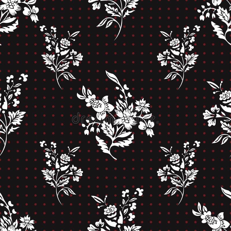 Αφηρημένο άνευ ραφής σχέδιο λουλουδιών, floral διανυσματικό υπόβαθρο Λευκό φαντασίας στο μαύρο και κόκκινο σημείο Πόλκα Για το σχ διανυσματική απεικόνιση