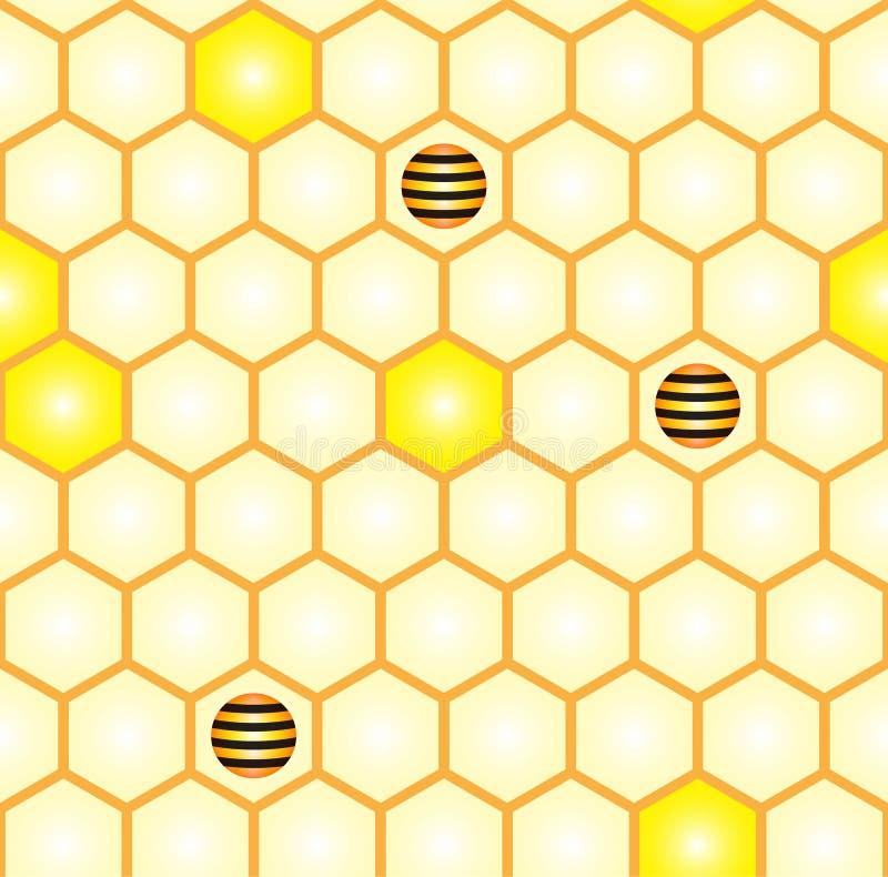 Αφηρημένο άνευ ραφής σχέδιο της χτένας και των τυποποιημένων μελισσών διανυσματική απεικόνιση