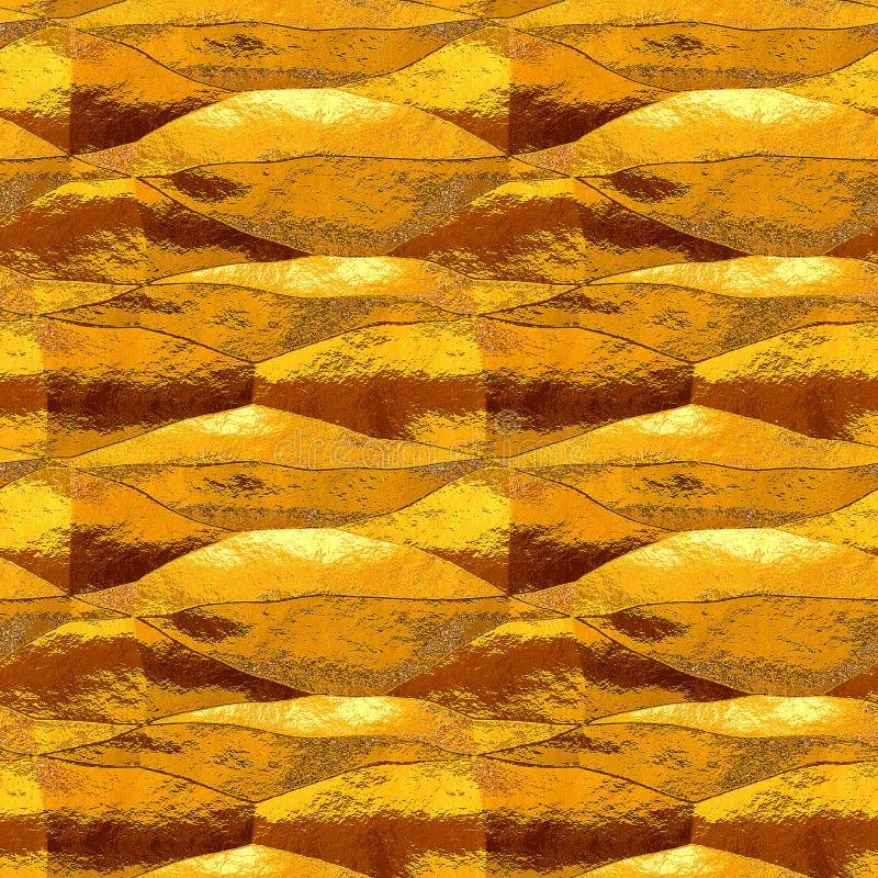 Αφηρημένο άνευ ραφής σχέδιο του διπλωμένου χρυσού και πορτοκαλιού φύλλου αλουμινίου μετάλλων διανυσματική απεικόνιση