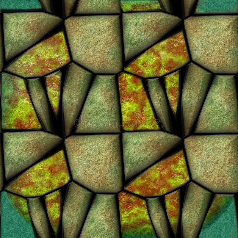 Αφηρημένο άνευ ραφής σχέδιο των τρισδιάστατων αιχμηρών πράσινων βαλμένων σε στρώσεις πετρών διανυσματική απεικόνιση