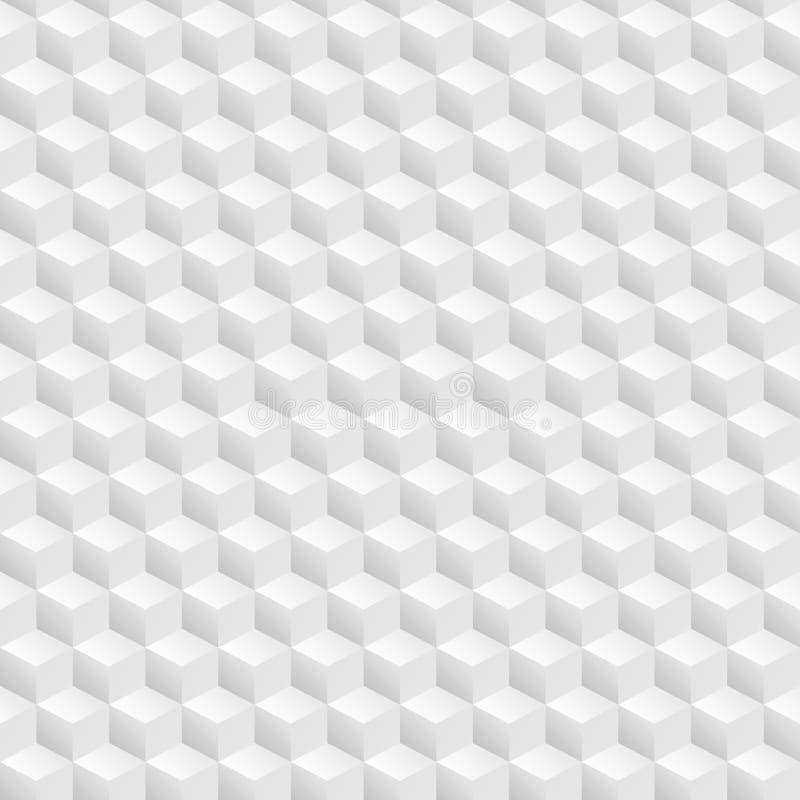 Αφηρημένο άνευ ραφής τρισδιάστατο άσπρο διανυσματικό υπόβαθρο κύβων ελεύθερη απεικόνιση δικαιώματος