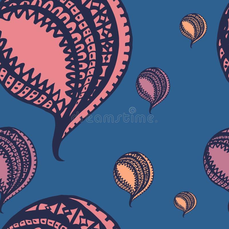 Αφηρημένο άνευ ραφής υπόβαθρο με τα μπαλόνια hand-drawn ελεύθερη απεικόνιση δικαιώματος