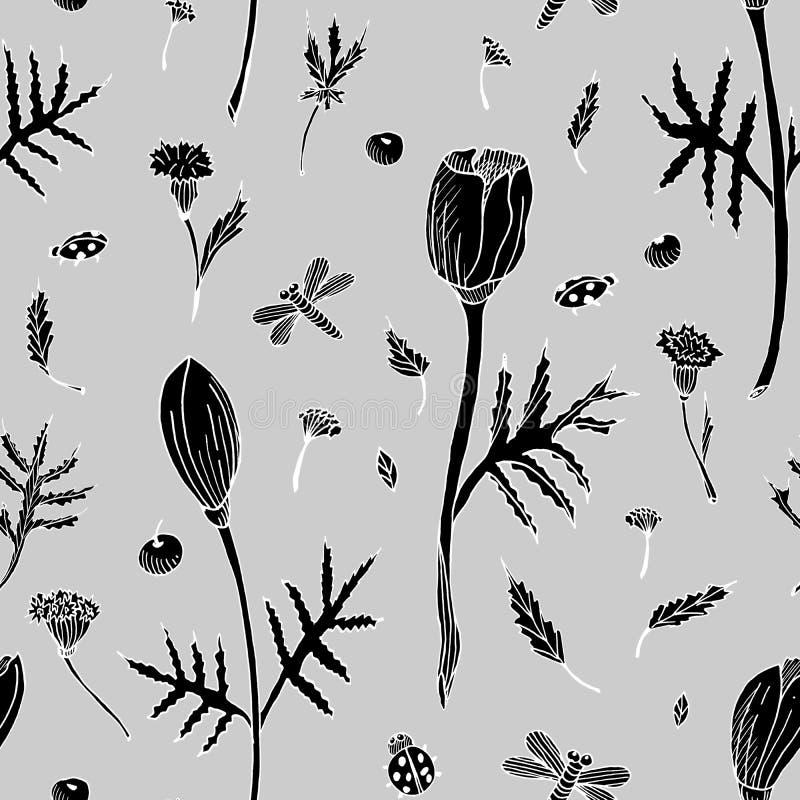 Αφηρημένο άνευ ραφής floral σχέδιο με τις τουλίπες, τα φύλλα και τα χορτάρια Συρμένα χέρι μαύρα λουλούδια σκιαγραφιών στο γκρίζο  διανυσματική απεικόνιση