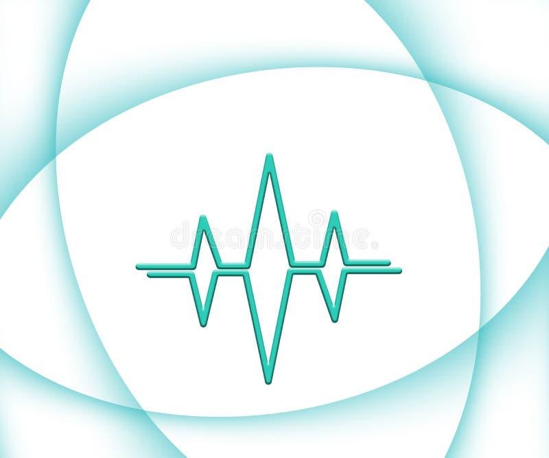 Αφηρημένο άσπρο ιατρικό Cardiograph εργαστηρίων υπόβαθρο θέματος με τις τυρκουάζ κυματιστές καμπύλες απεικόνιση αποθεμάτων