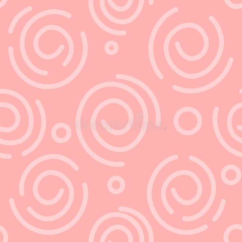 Αφηρημένο άσπρο και ανοικτό ροζ σπειροειδές υπόβαθρο E Απλό σχέδιο Άνευ ραφής διανυσματική σύσταση Έγγραφο απεικόνιση αποθεμάτων