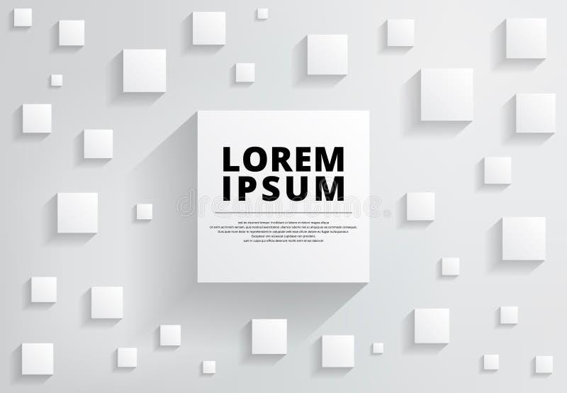 Αφηρημένο άσπρο και γκρίζο σύγχρονο τετράγωνο υποβάθρου με τη σκιά για ελεύθερη απεικόνιση δικαιώματος