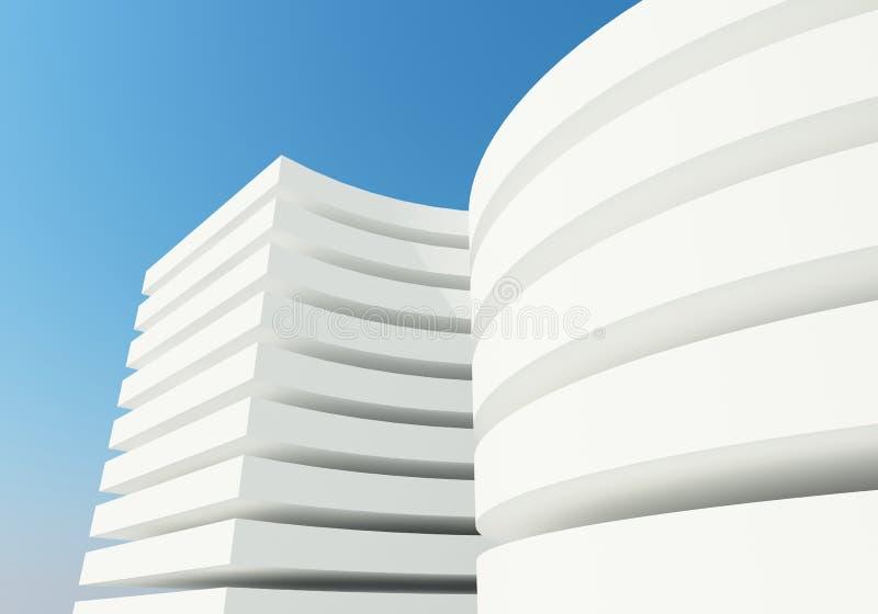 Αφηρημένο άσπρο κτήριο αρχιτεκτονικής ελεύθερη απεικόνιση δικαιώματος