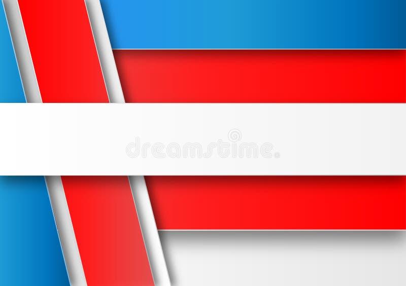 Αφηρημένο άσπρο, κόκκινο και μπλε γεωμετρικό υπόβαθρο διανυσματική απεικόνιση