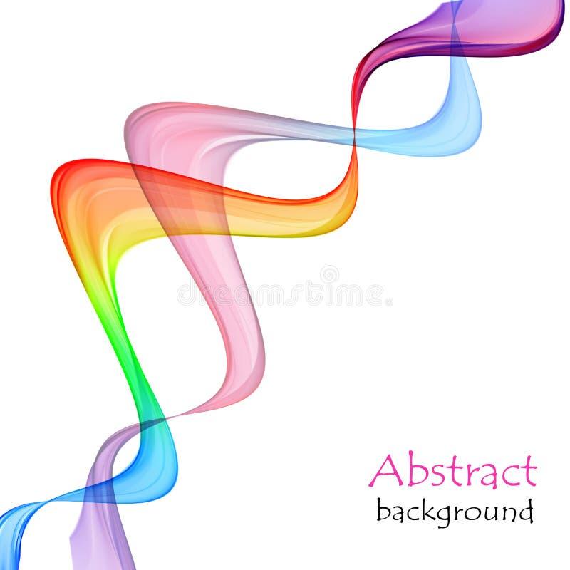 Αφηρημένο άσπρο υπόβαθρο με τις ζωηρόχρωμες γραμμές υπό μορφή κυμάτων διανυσματική απεικόνιση