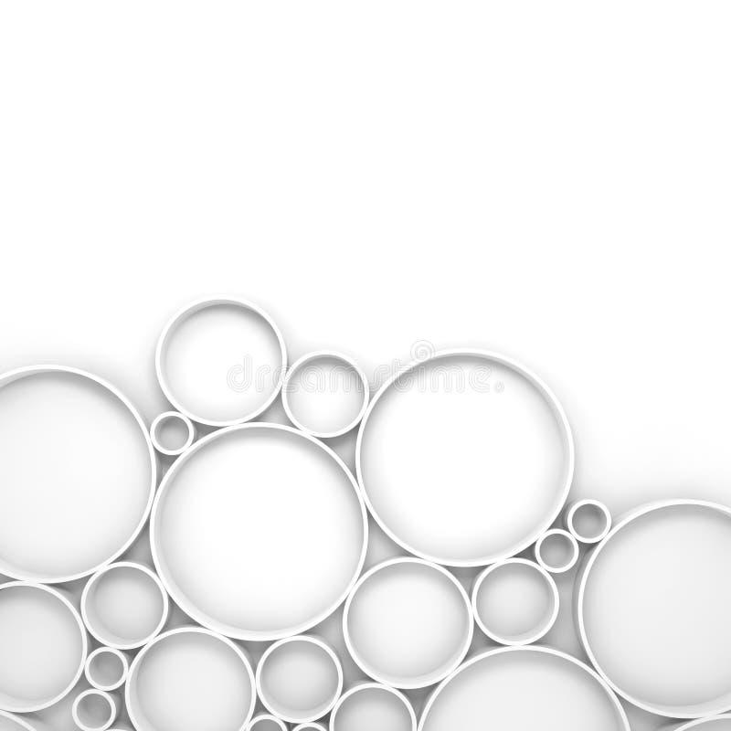 Αφηρημένο άσπρο ψηφιακό τρισδιάστατο υπόβαθρο με το σχέδιο δαχτυλιδιών ελεύθερη απεικόνιση δικαιώματος