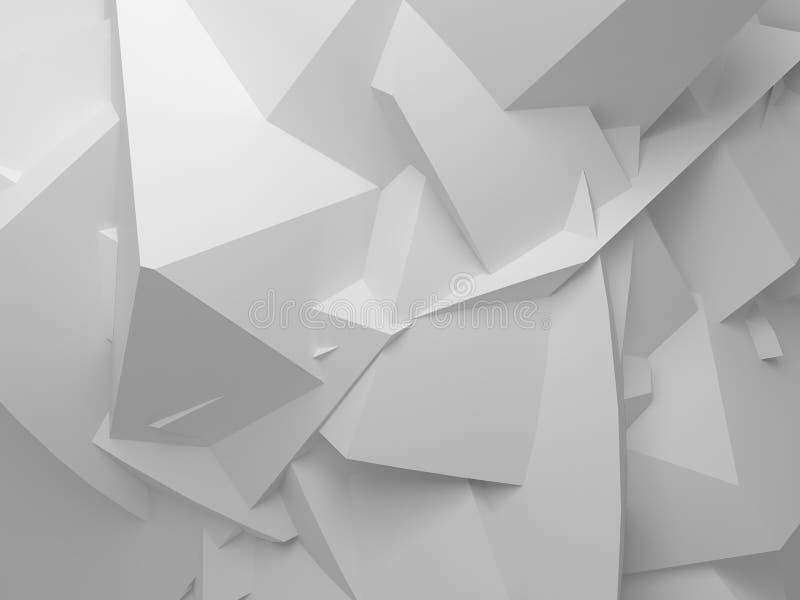 Αφηρημένο άσπρο ψηφιακό τρισδιάστατο χαοτικό polygonal υπόβαθρο διανυσματική απεικόνιση