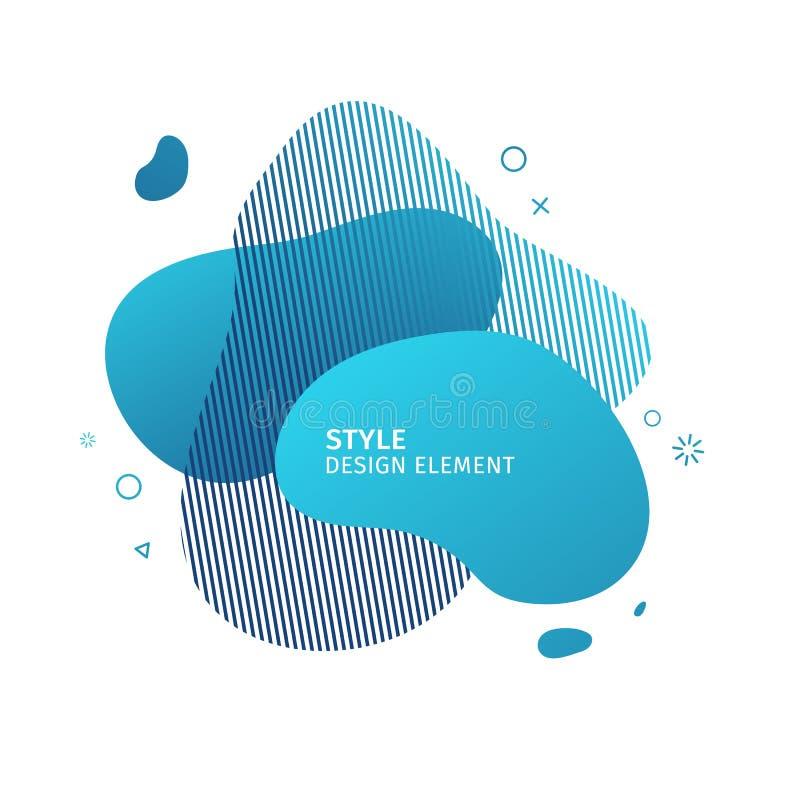 Αφηρημένα σύγχρονα γραφικά στοιχεία Δυναμικές μπλε μορφή και γραμμή χρώματος Αφηρημένο έμβλημα κλίσης με το πλαστικό υγρό διανυσματική απεικόνιση