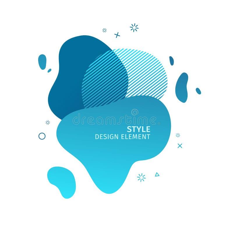 Αφηρημένα σύγχρονα γραφικά στοιχεία Δυναμικές μπλε μορφή και γραμμή χρώματος Αφηρημένο έμβλημα κλίσης με το πλαστικό υγρό ελεύθερη απεικόνιση δικαιώματος