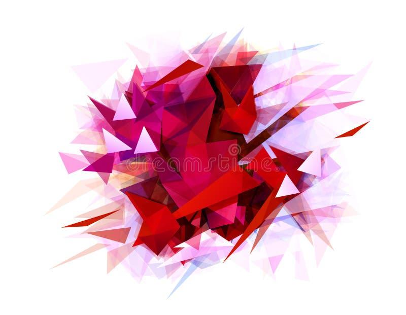 Αφηρημένο έμβλημα με το κόκκινο χρώμα και τη γραφική σύσταση αντίθεσης που διαμορφώνονται από τα γεωμετρικά τρίγωνα διανυσματική απεικόνιση