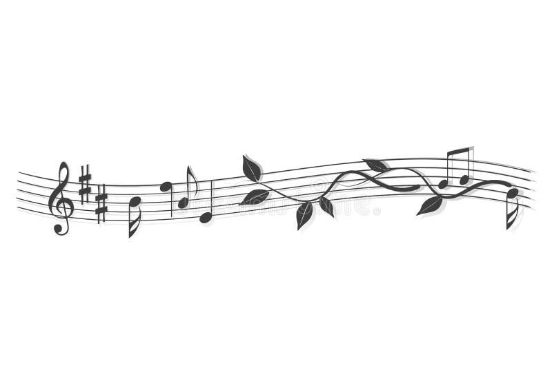 Αφηρημένο έμβλημα, σημειώσεις μουσικής διανυσματική απεικόνιση
